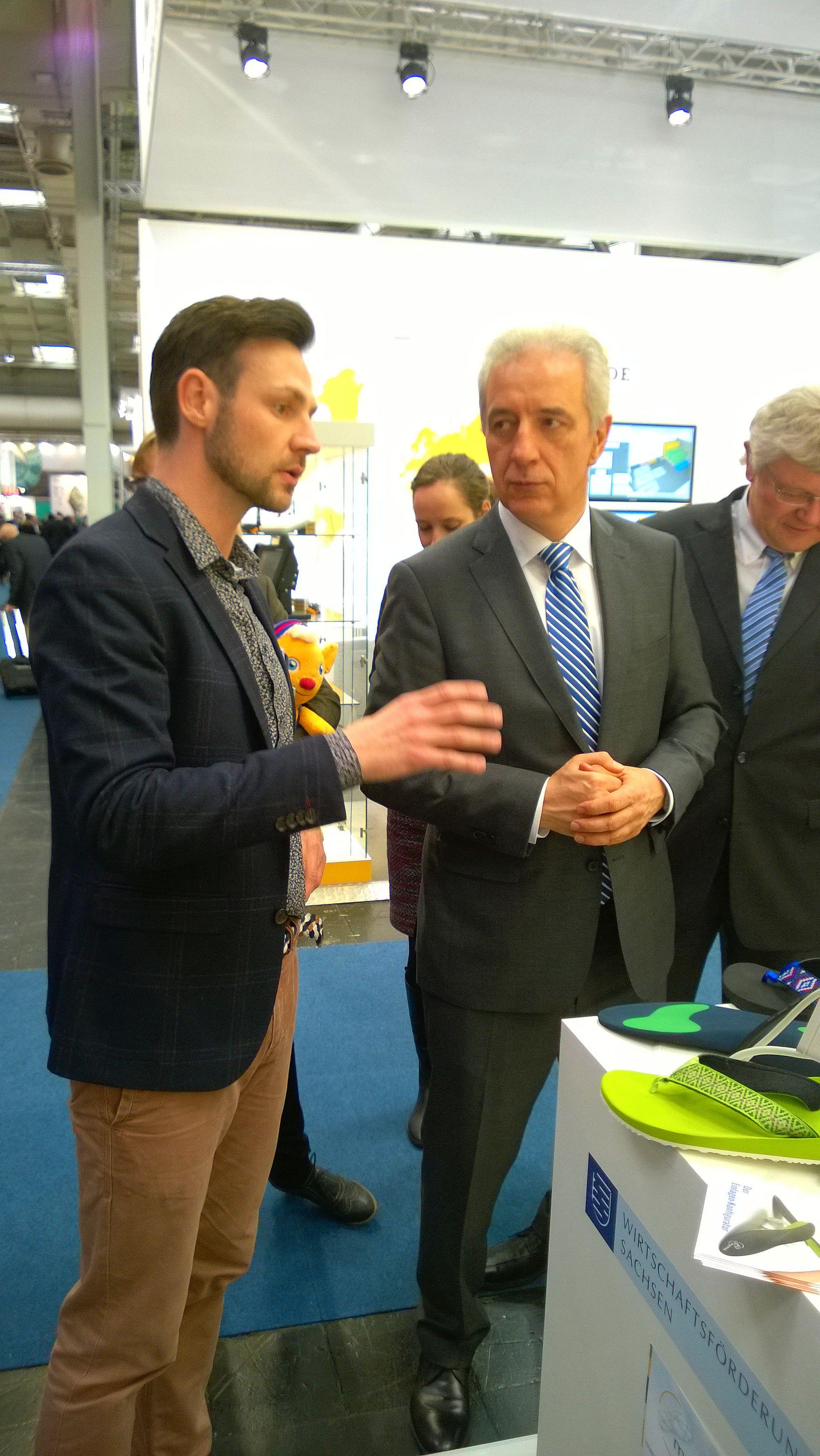 Christop Mätzold im Gespräch mit Ministerpräsident Stanislaw Tillich