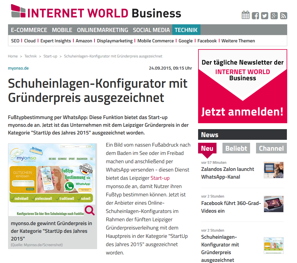 Internet World Business Bericht über myonso