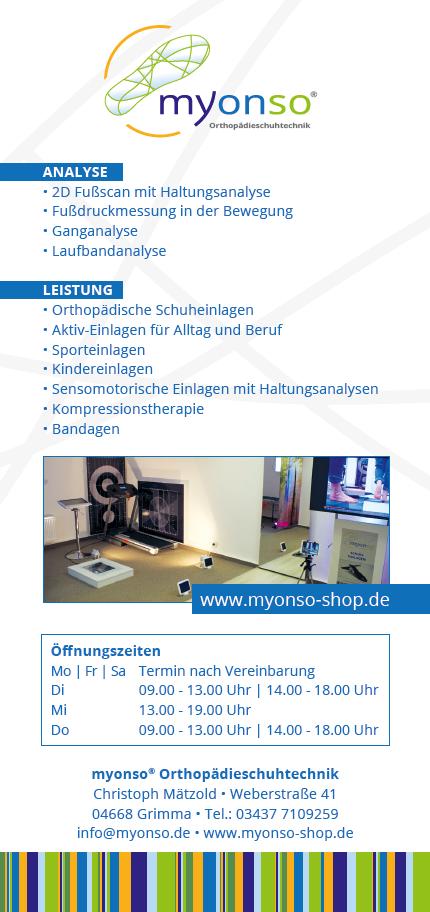 myonos-shop Öffnungszeiten in 04668 Grimma und Leipzig Orthopädische Schuheinlagen